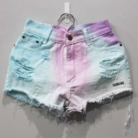 Tie dye Shorts High Waisted Denim