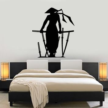 Vinyl Wall Decal Samurai Silhouette Katana Japanese Sword Asian Style Stickers Mural Unique Gift (ig5088)