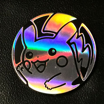 Pokemon Silver Sheen Holofoil, Black-backed Pikachu Collectible Coin New Rare Late Release XY Flashfire