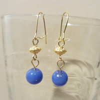 Periwinkle Glass Bead & Gold Detailed Disc Dangle Earrings, Handmade, Unique Style, Fashion Jewelry, Original Design, Simple Elegance, Small