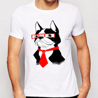 Track Ship+2016 New Retro Hot Men Tees Funny Tees Novelty Design T Shirts Cool Boston Terrier 3D Glasses Wearing Red Tie