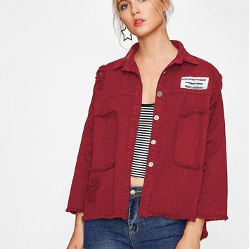 Drop Shoulder Patch Back Distressed Jacket