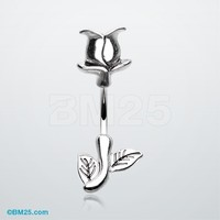 A Stem of Rose Belly Button Ring