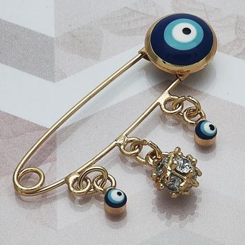 Gold Layered Women Greek Eye Basic Brooche, with White Cubic Zirconia, by Folks Jewelry