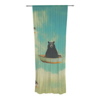 "Natt ""Bears"" Floating Animals Decorative Sheer Curtain"