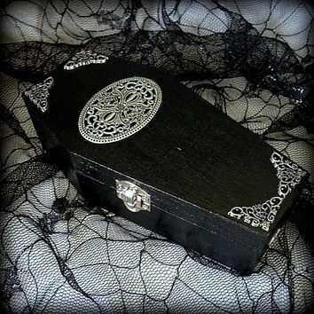 Black Victorian Filigree Red Lined Goth Gothic Vampire Wood Coffin Jewelry Trinket Desk Organizer Box