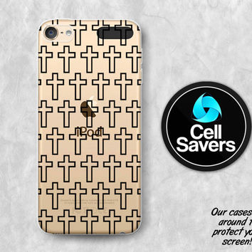 Cross Pattern Clear iPod 5 Case iPod 6 Case iPod 5th Generation iPod 6th Generation Rubber Case Gen Clear Case Christian Cross Black Pattern