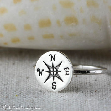 Compass Ring, Sterling Silver Ring, Nautical, Seashore Beach jewelry