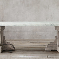 17Th C. French Bastide Oak Marble Rectangular Dining Table | RH