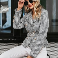 Simplee Double Breasted Belted Frayed Tweed Blazer