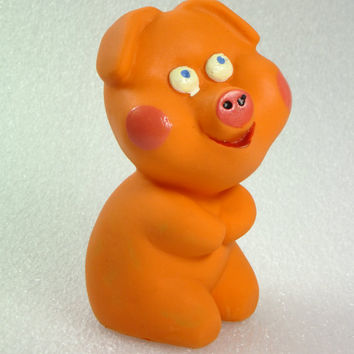 Vintage Pig Orange Rubber Toy 1980's Chew Toy Bath Toy,