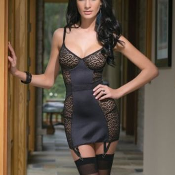 Black Leopard Mesh Lycra Paneling Garter Chemise @ Amiclubwear Intimates Clothing online store:Lingerie,Corset,Bustier,Women's Intimates,Sexy Intimate,Corset Intimates,intimates underwear,sheer intimates,silk intimates,intimates bras,holiday underwear,gar