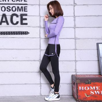 New Sport Women Fitness Set Fake Two pieces Leggins Alphabet Long Sleeved Lycra Peach Two pieces Yoga Suits