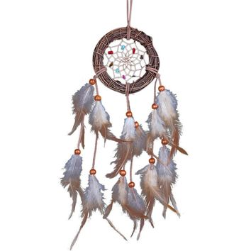 Home Decor Rattan Dream Catcher with Feathers Rome Wall Hanging Decoration Ornament Handmade Dreamcatcher Net