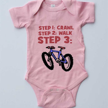 "Baby Girl Onesuit-""Mountain Bike Baby""-Baby Girl Outfit-Pink Onesuit bodysuit-Baby gift for cyclists"