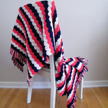 Vintage Crochet Blanket Afghan Red White by ThriftyVintageKitten