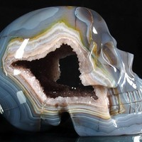 Agate Carved Crystal Geode Skull