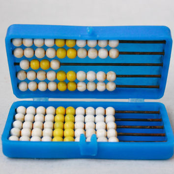 Soviet Pocket Abacus / Cute Colourful Vintage Counting Frame for Children / Learning to Count and Add, USSR Educational Math Toy Box