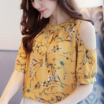 2018 Plus Size Chiffon Blouse Shirt Women Summer Cold Shoulder Floral Print Tops Elegant Ladies Korea Blouses