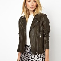 Whistles Patti Textured Leather Jacket at asos.com