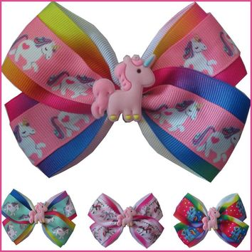 "20 BLESSING Girl 4.5"" Two Tone Angel Hair Bow Clip Rainbow Unicorn Pony Hairbow"