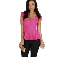 Fuchsia Bright Lights Peplum Top