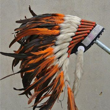 Orange Indian Feather Headdress Hand Made Indian War Bonnet Native American Halloween Costumes With Silver Headband - Beauty Ticks