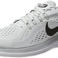 Men's Nike Flex RN 2017 Running Shoe Pure Platinum/Black/Wolf Grey/Cool Grey Size 15 M