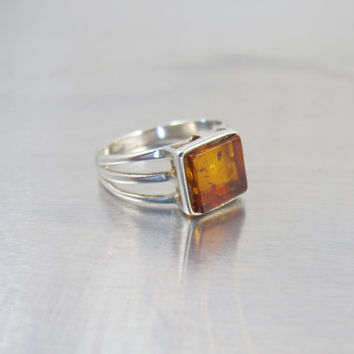 Sterling Silver Amber Ring, Modernist Russian Baltic Honey Amber Jewelry, Size 8
