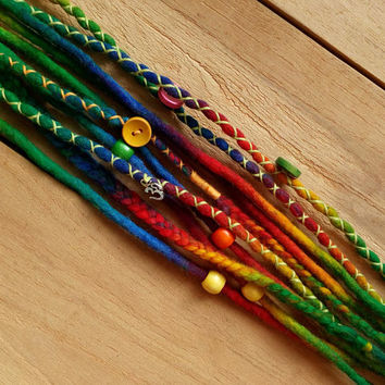 Bohemian dreadlocks, chakra colors, Rainbow Wool dreads, 5 de, Festival dreads, ohm charm, boho hair accessories