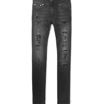 Alexander McQueen - Slim-Fit Distressed Washed Stretch-Denim Jeans