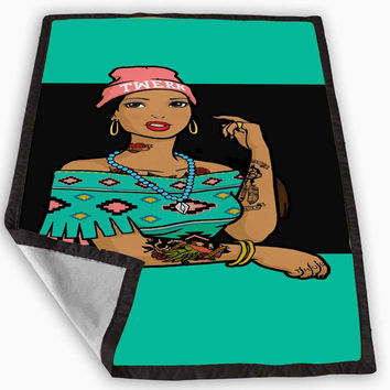 Pocahontas Hipster Blanket for Kids Blanket, Fleece Blanket Cute and Awesome Blanket for your bedding, Blanket fleece *
