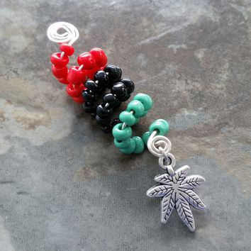 Dreadlock Jewelry, Loc jewelry, Pot leaf, Weed, Wire wrapped, Beaded, hair accessory, ethnic jewelry