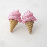 glitter strawberry ice cream cone earrings