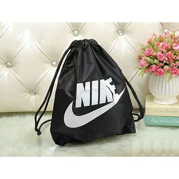 NIKE Trending Women Men Stylish Bundle Pocket Basketball Bag Ball Bag Rope Bag Shoe Bag Yoga Dance Fitness Training Bag Backpack Black I-WMXB-PFSH