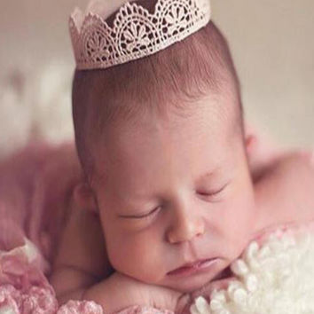 Lace Crown Newborn Photography Baby Hat Prop (Several Colors Available ) - CCH148