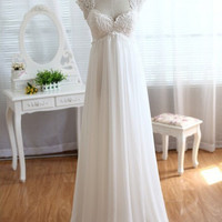 Homecoming Dress,Beautiful White Applique Chiffon Wedding Prom Dress