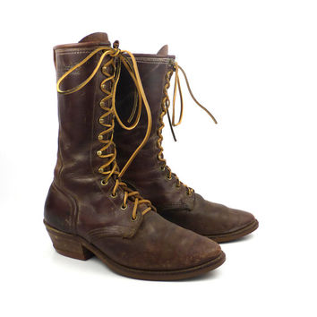 Roper Boots Vintage 1980s Distressed Golden Retriever Leather Brown Granny Lace up Packer Women's size 9