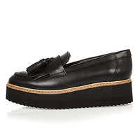 Black leather platform loafers - flat shoes - shoes / boots - women