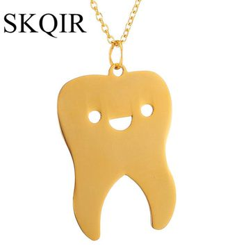 SKQIR Lovely Tooth Necklaces & Pendants For Women/Men Gold-Color Chain Stainless Steel Necklace Fashion Body Medical Jewelry