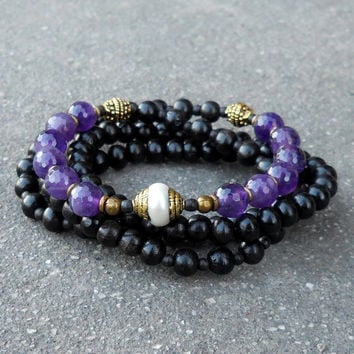 healing and strength, 108 bead ebony and amethyst necklace with Tibetan pearl guru bead