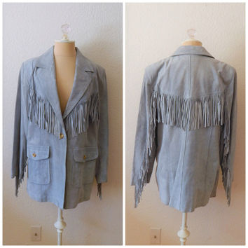 Vintage 90s Powder Blue Womens Fringe Genuine Suede Leather Jacket Coat