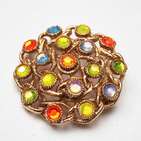 Sarah Cov Rhinestone  brooch - moon Lite - orange yellow green crystal - gold  - Floral pin -