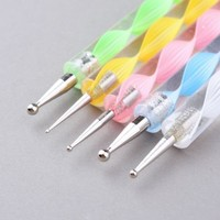 DragonPad 5pcs 2-ways Acrylic Uv Gel Nail Art Design Tips Dotting Painting Brush Pen Set