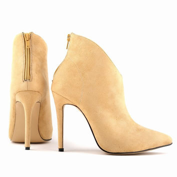 Womens Sexy Faux Velvet Pointed Toe High Heels Stiletto Ankle Boots