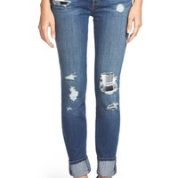 Women's Treasure&Bond Plaid Patch Destroyed Skinny Jeans ,