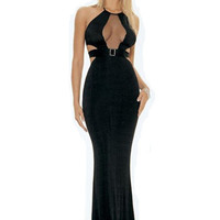 Black Halter Chest Mesh Side Cut Out Bodycon Fishtail Maxi Dress