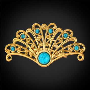 Peacock Feather Brooches Women Jewelry Platinum/Rose Gold/18K Real Gold Plated Pin Broches Vintage Turquoise Brooch B2079