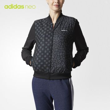 """Adidas Neo"" Women Sport Casual Polka Dots Print Long Sleeve Zip Cardigan Jacket Coat Baseball Clothes"