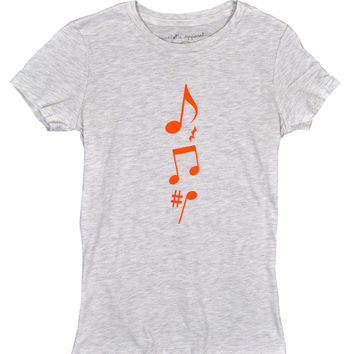 Music Notes - Women's Basic Oatmeal/Black Short Sleeve, Graphic Print Tee